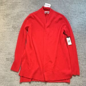 Max Studio Red 100% 2 Ply Cashmere Open Cardigan